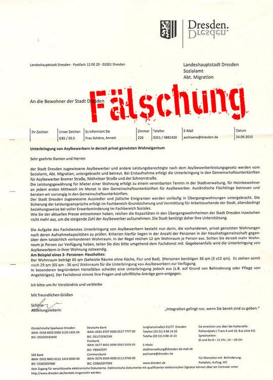 Nazi-Fake aus Dresden, 2015