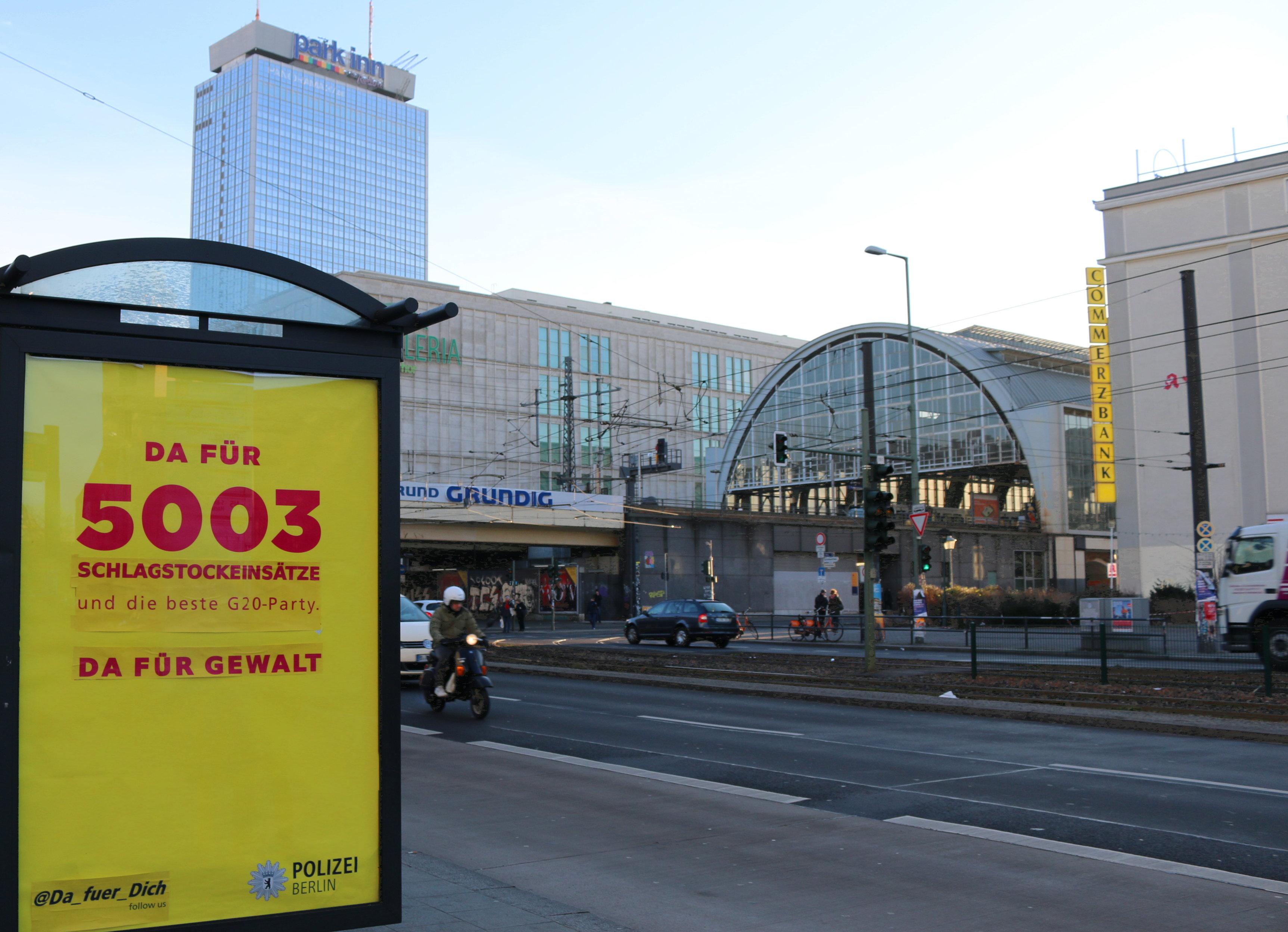 Da für 5003 schlagstockeinsätze und die beste G20-Party adbusting zum Polizeikongress am Alexplatz