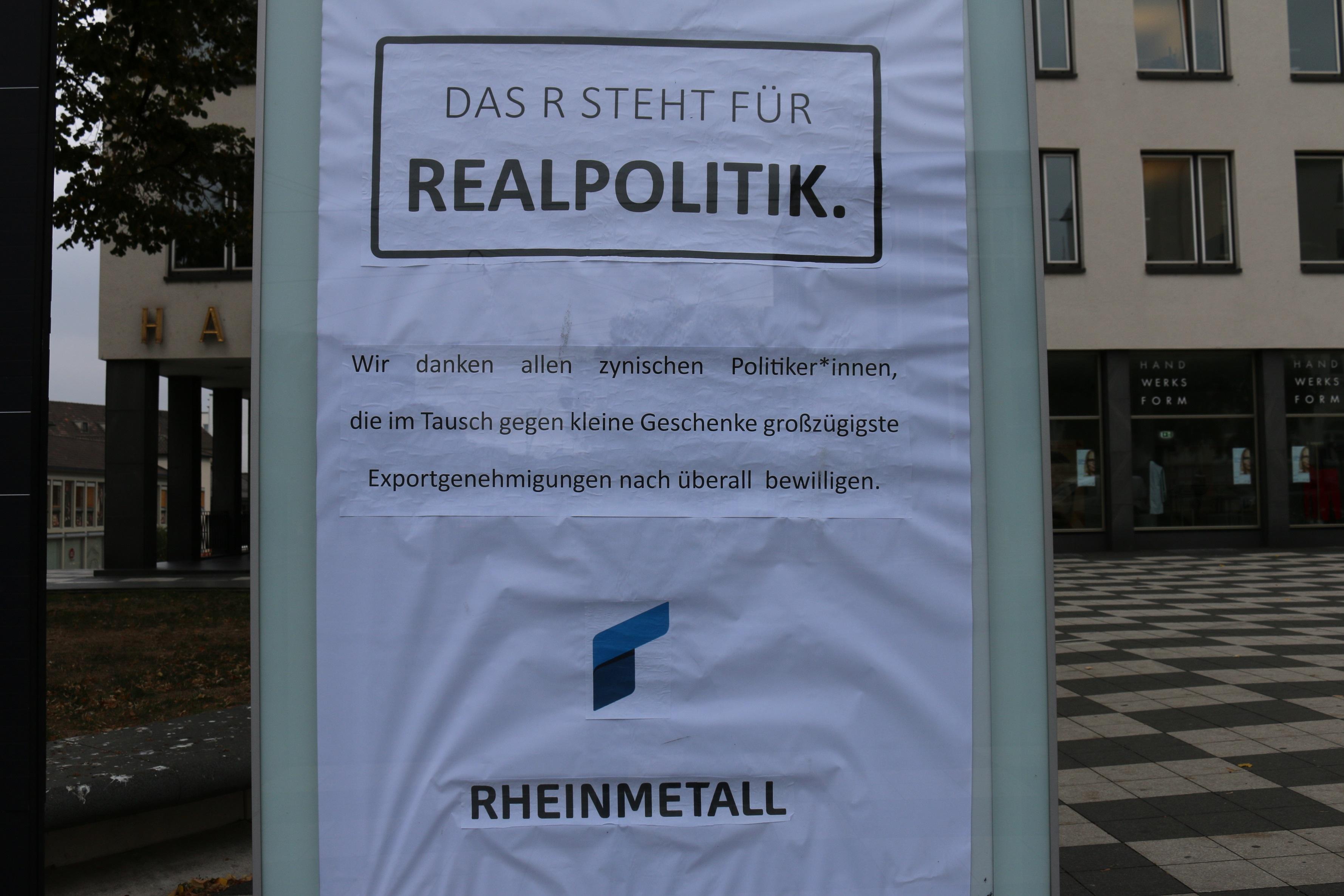 Adbusting gegen Rheinmetall in Kassel